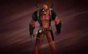 Picture red, gun, art, gun, swords, comic, deadpool, deadpool