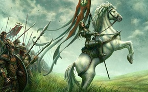 Picture field, horse, figure, rider, fantasy, elf, kerem couplets, army