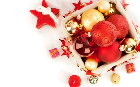 Picture decoration, balls, candles, Christmas, New year, Christmas, balls, box, New Year, decoration, Merry