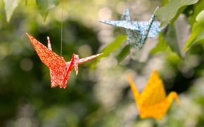 Picture leaves, origami, bokeh, cranes