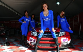 Picture Lada, boxes, Lada, Granta, Grant, WTCC, Lada sport Lukoil, Grid Girls