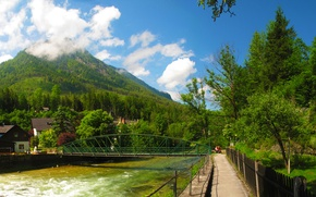 Picture forest, clouds, trees, mountains, bridge, river, home, Austria, resort, Bad Aussee, Bad Aussee