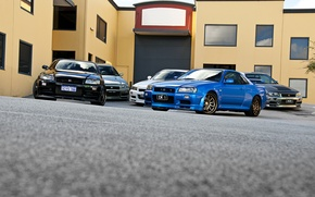 Picture white, blue, black, silver, silver, Nissan, white, black, skyline, Nissan, blue, gt-r, front, r34, gtr
