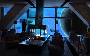 Picture space, fire, interior, ships, chairs, fireplace, space station
