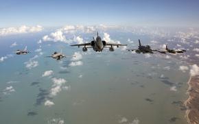 Picture F-5E, Fighting, coastline, Exercises, F-16, Falcon, the ocean, A-37A Dragonfly Cessna, CRUZEX, Dassault Rafale 113, …