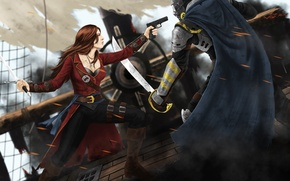 Picture girl, gun, fiction, ship, mask, art, pirate, male, armor, cloak, saber