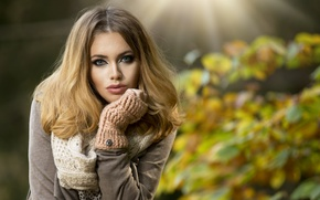 Picture makeup, rays, girl, coat, mitts, brown hair, autumn