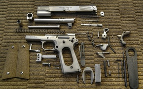 Wallpaper disassembled weapon, Colt, tactical, weapon, cal. 45, cleaning, wallpaper, maintenance, gun, Colt 1911, Colt 1911 ...