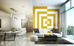 Wallpaper decoration, living room, yellow, white
