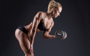 Picture photography, blonde, pose, female, workout, fitness, bodybuilding, dumbbells, sportswear, muscle toning, lighting effects