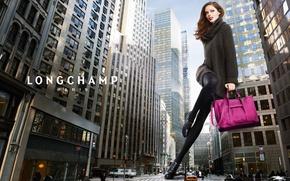 Picture the city, street, model, Paris, Coco Rocha, Longchamp