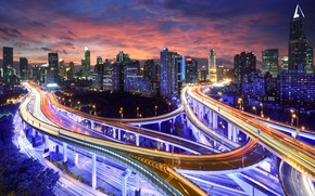 Picture Hong Kong, skyscrapers, tall, China, highway, the city, lights, night, building, road, light, skyscrapers, excerpt, ...