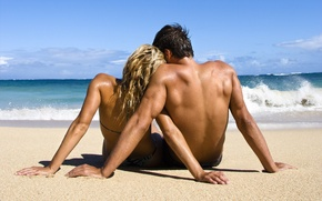 Picture wave, shore, Love, pair