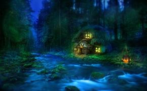 Wallpaper forest, river, house, ear