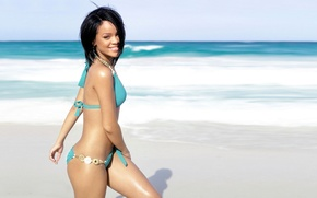 Picture Rihanna, swimsuit, rihanna, girl, shore, beach
