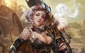 Picture fantasy, Girl, art, mechanics