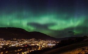 Picture stars, night, the city, Northern lights