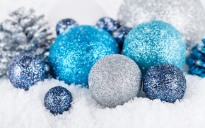 Picture winter, balls, snow, balls, toys, New Year, Christmas, blue, holidays, silver, Christmas, Christmas