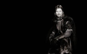 Picture The Lord of the rings, black background, The Lord of the Rings, Sean Bean, Sean …