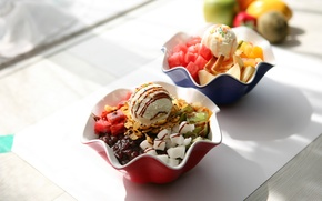 Picture ice cream, fruit, dessert, sweet