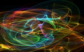 Picture rays, light, line, pattern, color, fractal