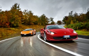 Picture Lamborghini, Ferrari, supercar, Gallardo, Ferrari, 458 italia