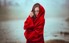 Picture fog, bokeh, the girl in the red, Katie Sendza, Mystical