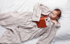 Picture child, sleep, glasses, bed, book, pajamas