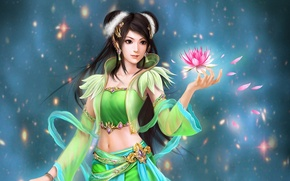 Picture flower, girl, decoration, petals, art, Lily, sparks, Perfect World, Jade Dynasty
