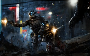 Picture the city, weapons, soldiers, armor, battle, shots, Retribution, Blacklight