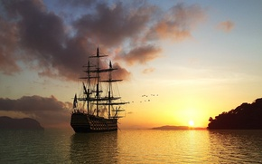 Wallpaper ship, water, sunset