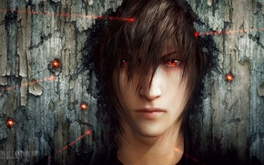 Wallpaper face, art, laser, guy, red eyes, sight, final fantasy xv, tincek-marincek, night light sky
