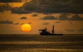 Wallpaper sea, the sky, the sun, clouds, sunset, ship