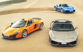 Wallpaper sand, auto, trail, McLaren, Lamborghini, Ferrari, Ferrari, Blue, GTB, grey, Spyder, supercars, orange, Lamborghini, McLaren, ...