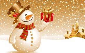 Picture snowman, new year, snow, gift, winter, christmas