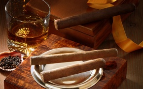 Picture glass, box, cigars, whiskey
