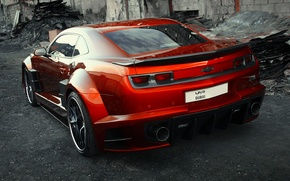 Picture car, auto, carbon, sportcar, red, rear view, tuning, carbon, Chevrolet Camaro, chrome, Chevy Camaro