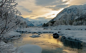 Picture winter, snow, trees, mountains, river, the evening