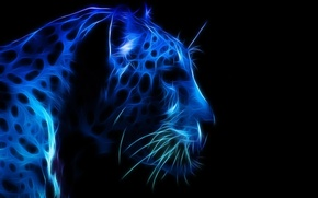 Picture leopard, blue color, the dark background, 3D graphics, face, profile
