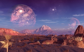 Picture the sky, mountains, rocks, planet, terraspace