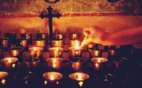 Picture lights, cross, hand, candles, christianity