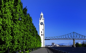 Picture the sky, trees, bridge, watch, tower, port, Montreal, Montreal, Old Port, Clock Tower