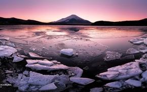 Picture sunset, ice, Japan, photographer, Kenji Yamamura, Lake Yamanaka