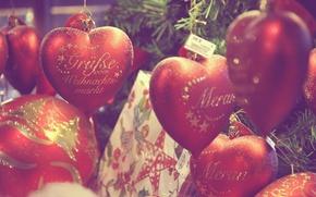 Wallpaper toys, hearts, Christmas