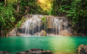 Picture forest, trees, river, stones, waterfall, treatment, stream, jungle, Thailand, Thailand, cascade