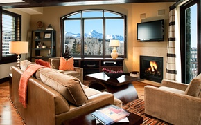 Picture living room, Villa, fireplace, resort, Suite, mountain view