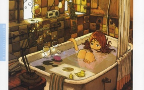 Picture bubbles, room, toys, books, lamp, window, girl, bath, curtain, art, Inucoco