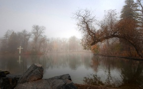 Picture autumn, trees, fog, pond, Park, stone