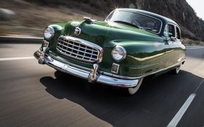 Picture road, mountains, movement, speed, track, 1950, Sedan, Custom, Nash, Ambassador