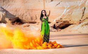 Wallpaper dress, rocks, the sun, clubs, orange, girl, smoke, brunette, sand, figure